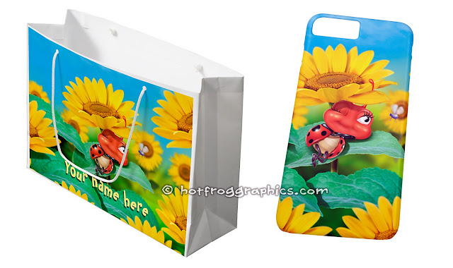 Gift bag and phone case both with small ladybug sleeping on a sunflower