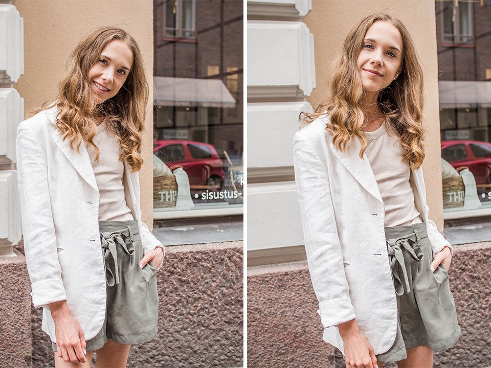 Summer outfit inspiration, green shorts, linen blazer - Kesämuoti, inspiraatio, vihreät shortsit, pellavableiseri