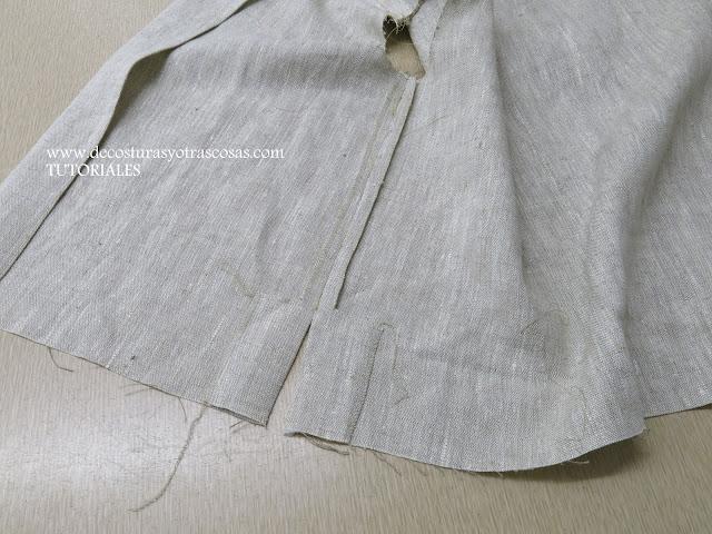costura lateral con abertura