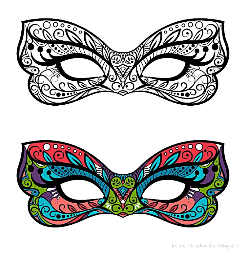 Malvorlagen Karneval Masken Mandala   Free Mandala