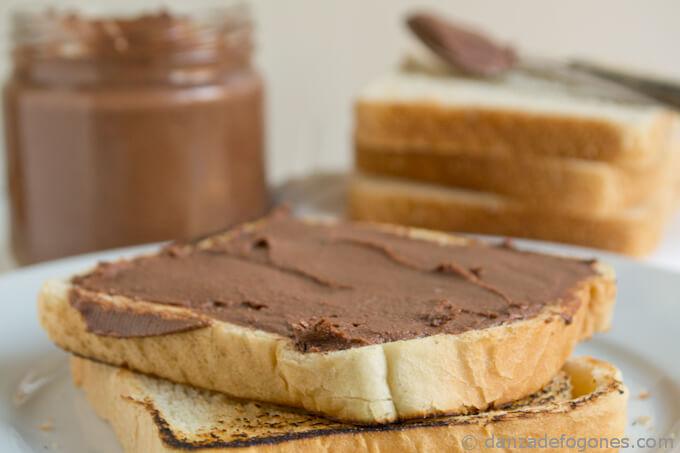Cocoa and hazelnut spread. Nocilla or homemade Nutella