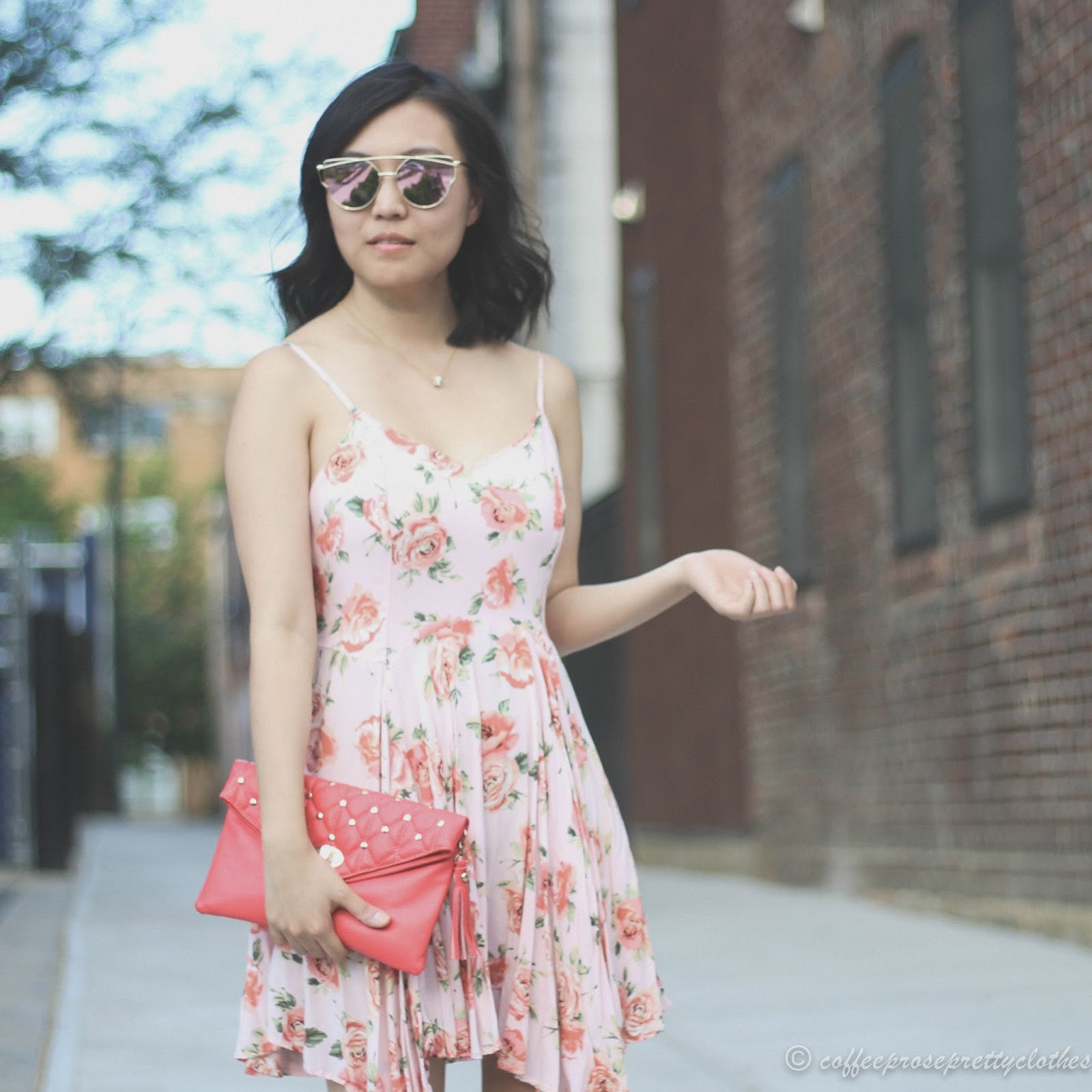 Rose gold cat eye sunglasses, floral dress, handkerchief hem, uneven hemline dress, sandals, coral clutch