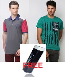 Buy Men's T-Shirts for Rs.269 & Get  POWER BANK worth Rs.598 absolutely FREE @ Yepme