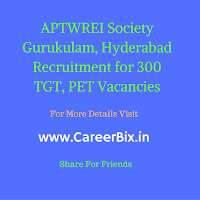 APTWREI Society Gurukulam, Hyderabad Recruitment for 300 TGT, PET Vacancies