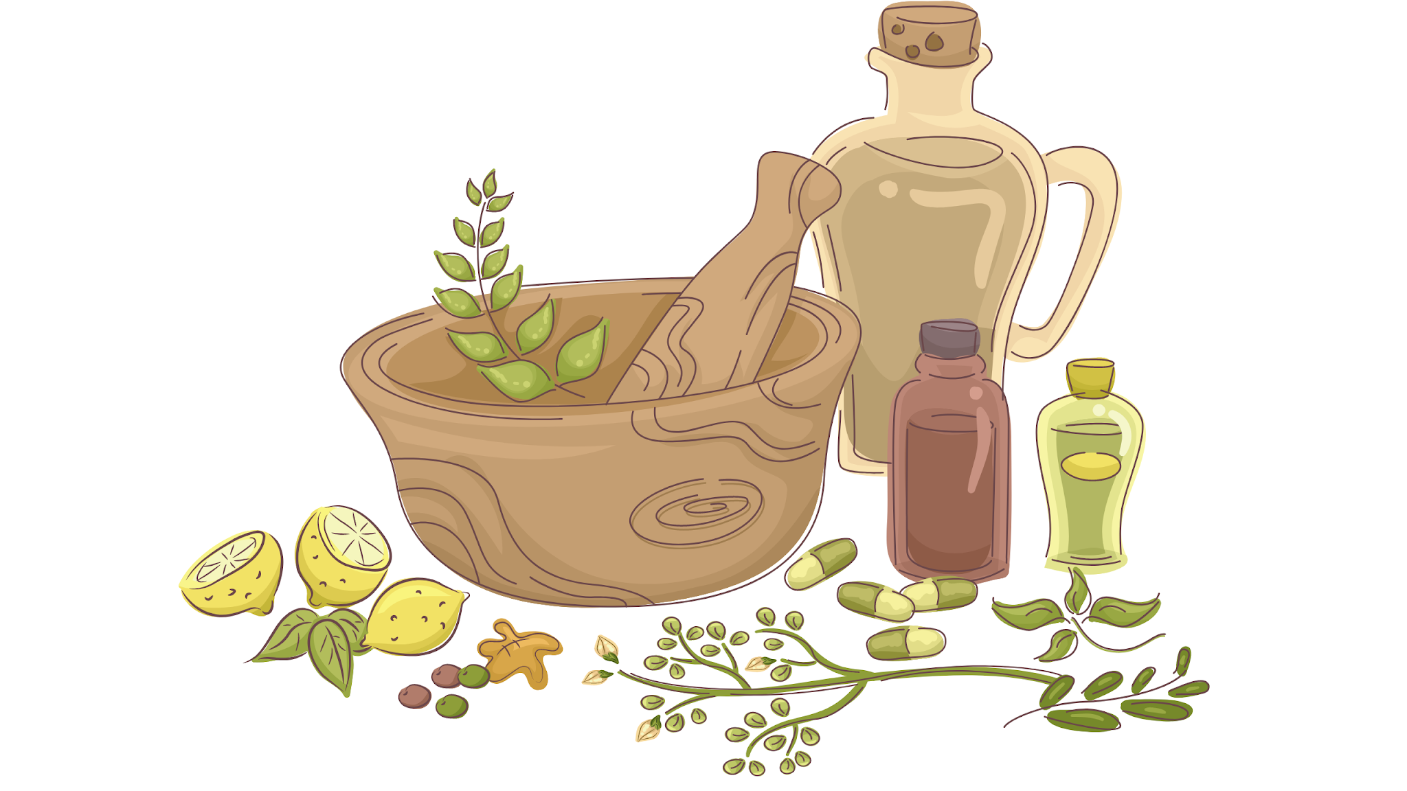 Herbal bowl and stirring spoon illustration, herbal ingredients, herbs and spices, herbal healing, herbalism