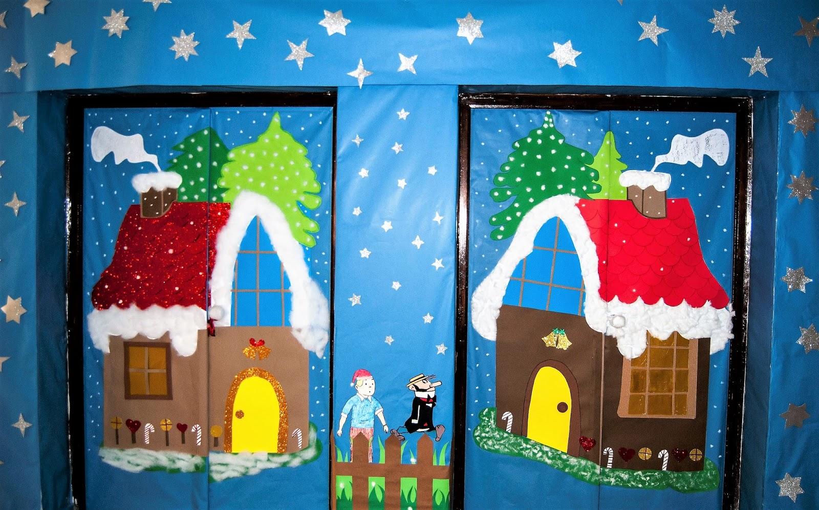 Colegio santiago ap stol villanueva de la serena for Puertas decoradas navidad material reciclable