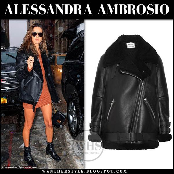 Alessandra Ambrosio wears black leather acne shearling jacket and mini knit dress fashion week outfits february 2019