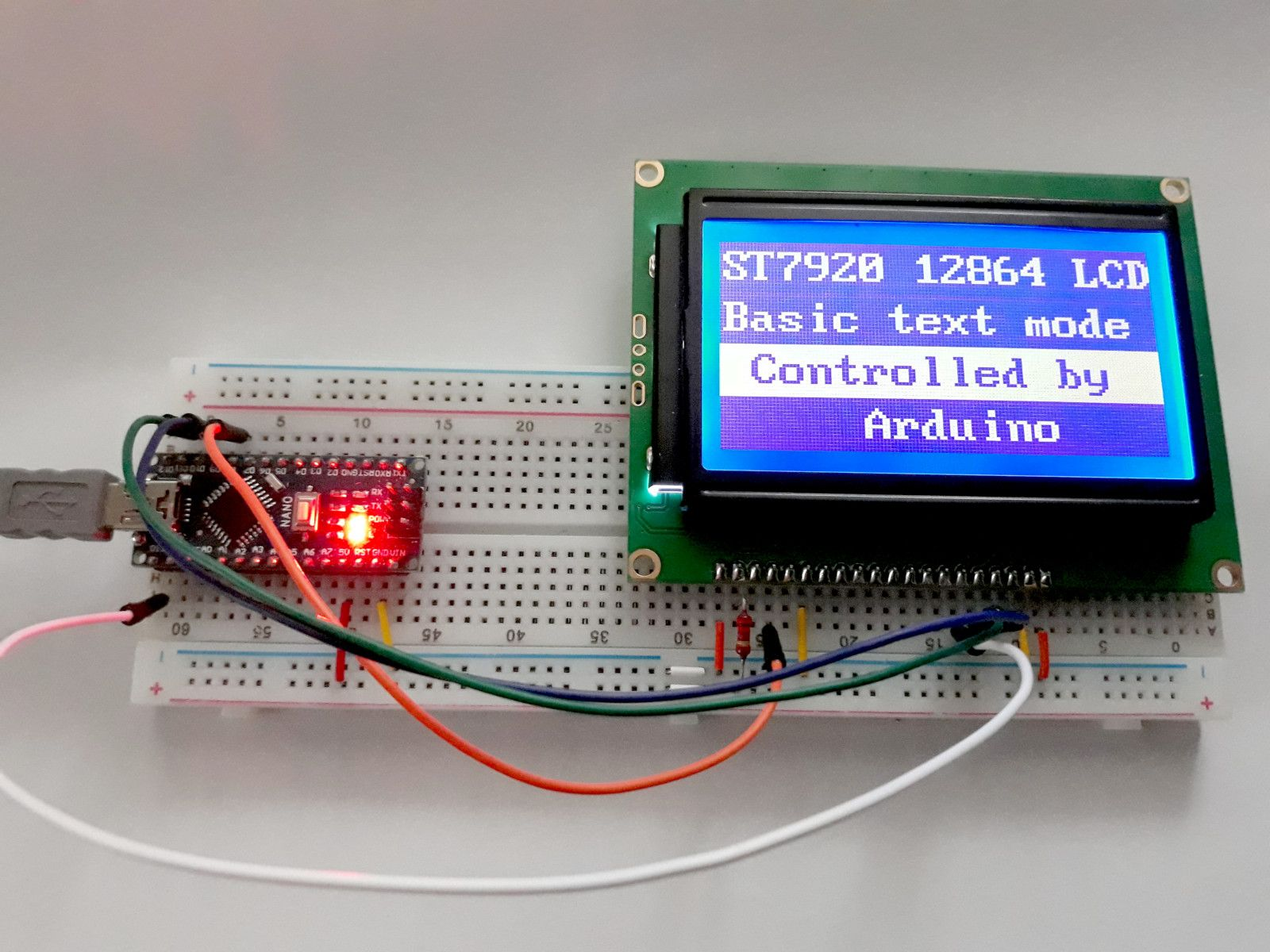 C Code for Text Mode on ST7920 Graphic LCD · One Transistor