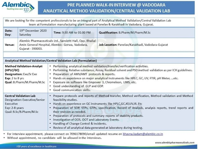 Alembic Pharma | Walk-in for Analytical Validation/Central Validation on 19th Dec 2020