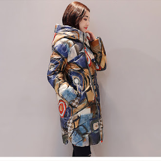 Padded Coats Casual Female Printed Parka Hooded Thicker