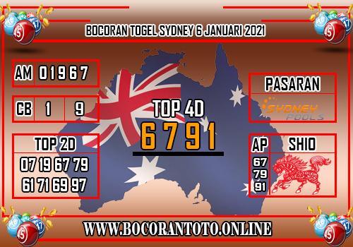 Bocoran Sydney 6 Januari 2020