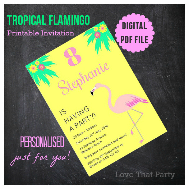 image of yellow tropical birthday invitation with pink flamingo