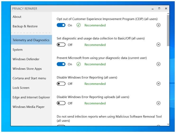 Privacy Repairer :  Η προστασία του απορρήτου σας για τα  windows 10