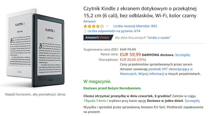 Kindle 8 na Amazon.de