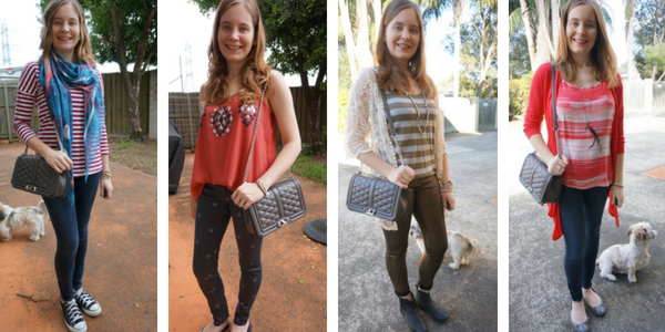 Quilted Love Bag 4 ways to wear with skinny jeans | awayfromtheblue