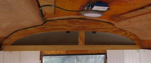building an upper storage bin in a fiberglass trailer