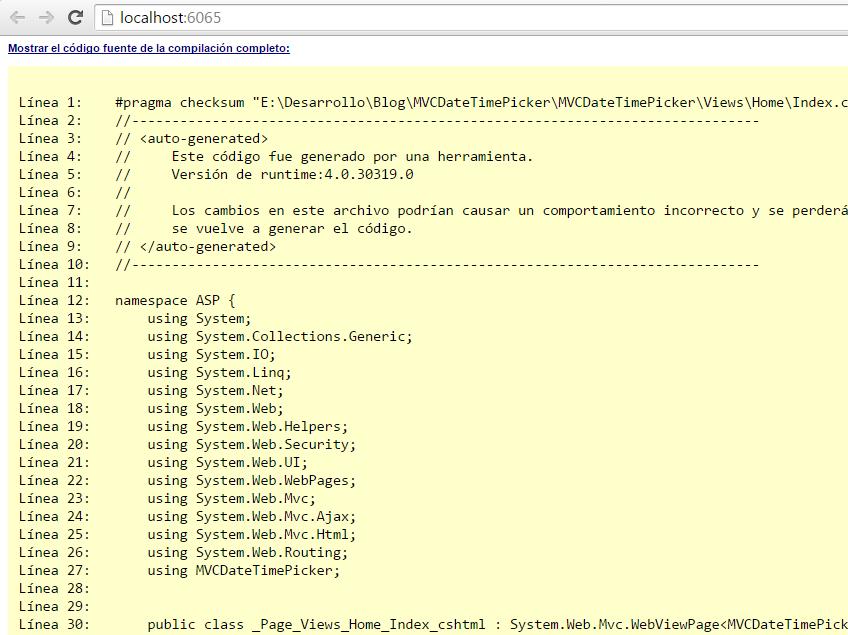 Código fuente de la vista index.cshtml