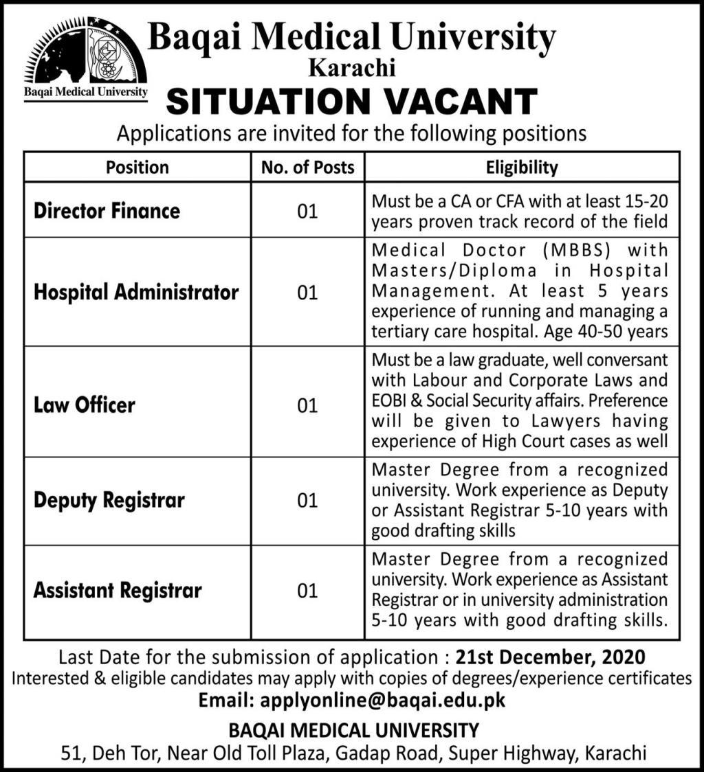 Baqai Medical University Karachi Jobs in Pakistan - Send Your CV Online - applyonline@baqai.edu.pk Jobs 2021