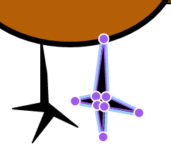purple nodes around the right leg