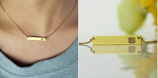 gold bar monogram initial necklace