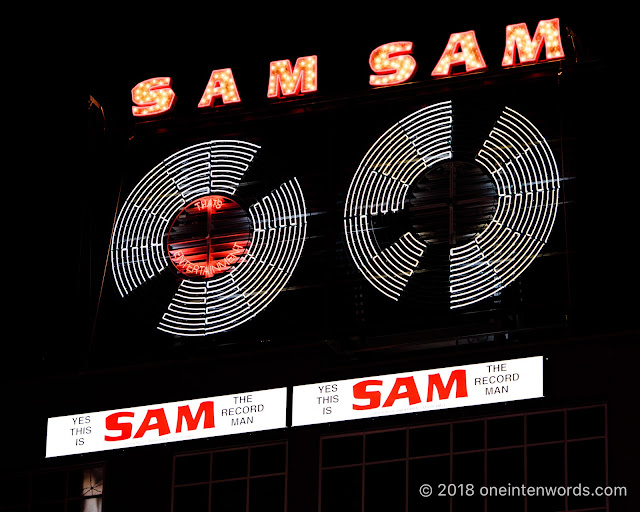 The iconic Sam The Record Man sign at NXNE 2018 at Yonge-Dundas Square on June 16, 2018 Photo by John Ordean at One In Ten Words oneintenwords.com toronto indie alternative live music blog concert photography pictures photos
