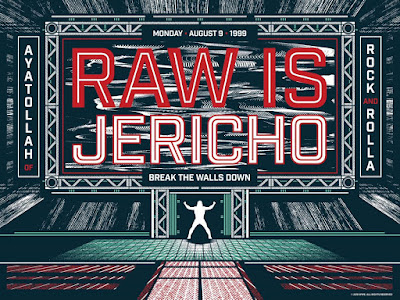 "WWE RAW 25th Anniversary Screen Print Series - ""Raw Is Jericho"" by Jeffrey Everett (Rockets Are Red) x Gallery 1988"