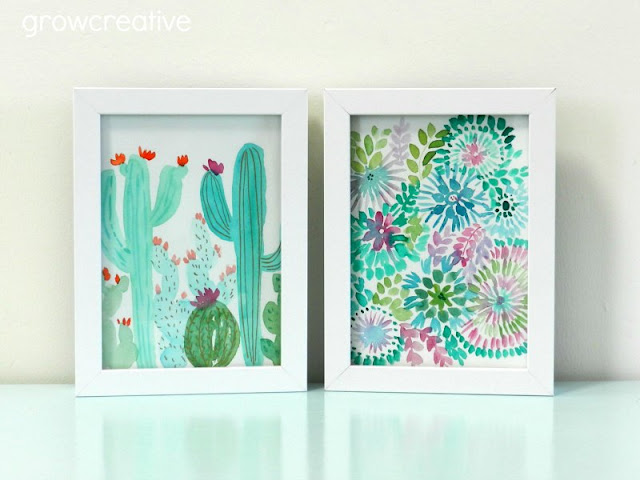 watercolor cactus and flowers by Elise Engh