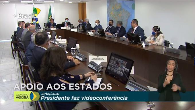 Em reunião com líderes do congresso, ministros e governadores, Bolsonaro garante sancionar ajuda aos estados