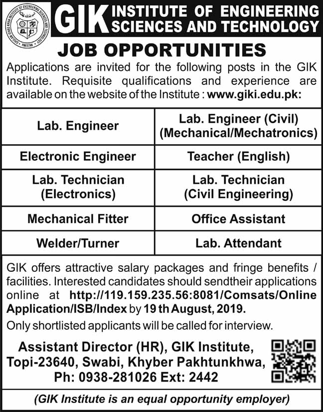 GIK Institute Of Engineering Sciences And Technology Latest Jobs