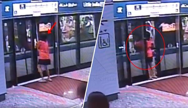 (Video) Takut ditinggalkan kawan, makcik buka pintu tren tetapi tersangkut di celah pintu
