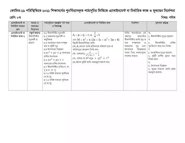 DSHE Class 8 School Assignment 2021 PDF 7th Week | www.dshe.gov.bd