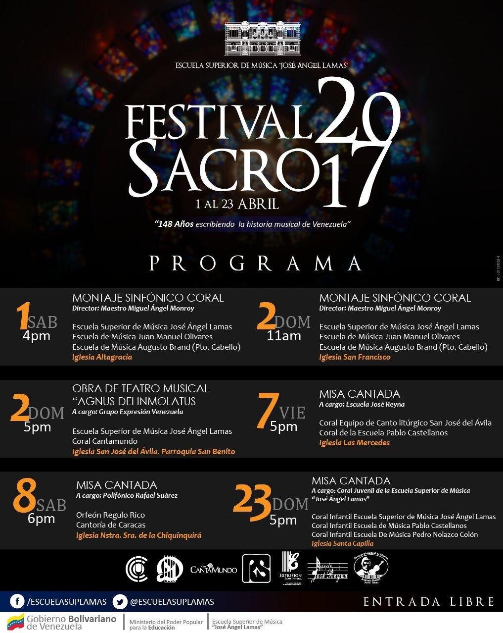 Infocoral Venezuela Festival Sacro 2017de La Escuela