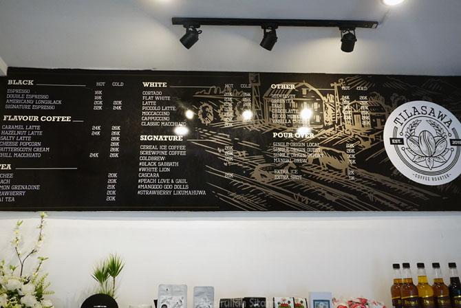 Daftar menu dan harga di kedai kopi Tilasawa Coffee Roaster