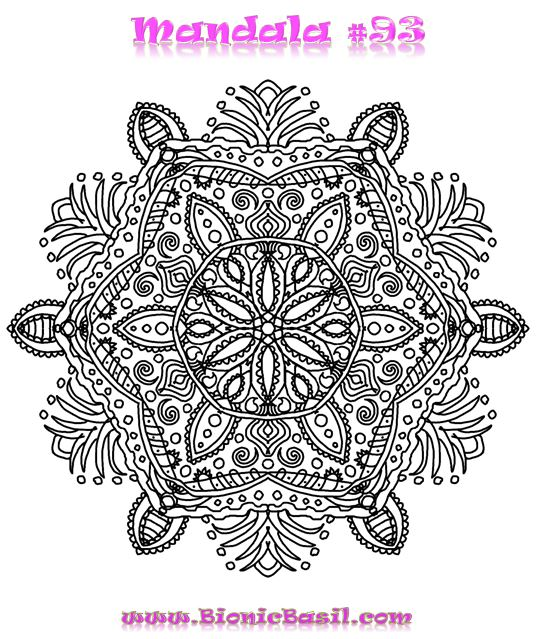 Mandalas on Monday ©BionicBasil® Colouring With Cats Mandala #93 Downloadable Image