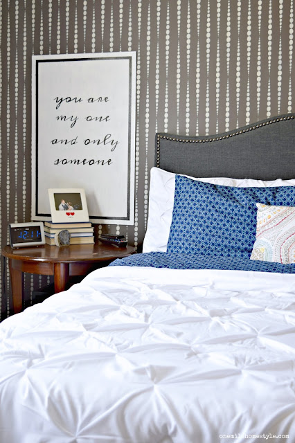 Grey and White Master Bedroom Makeover With Black and White Typography Art