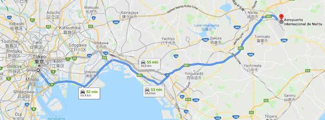 mapa itinerario de bus aeropuerto Tokio