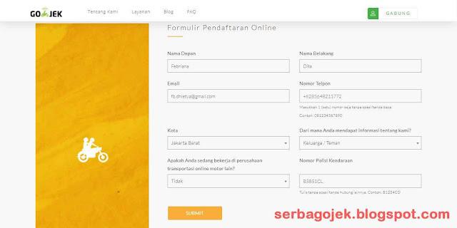 Pendaftaran GoJek | Formulir Pendaftaran GoJek Online