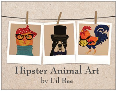 Hipster Animal Art by L'il Bee