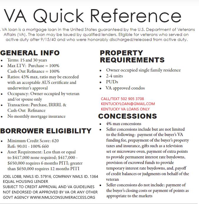 Kentucky VA Mortgage Guidelines