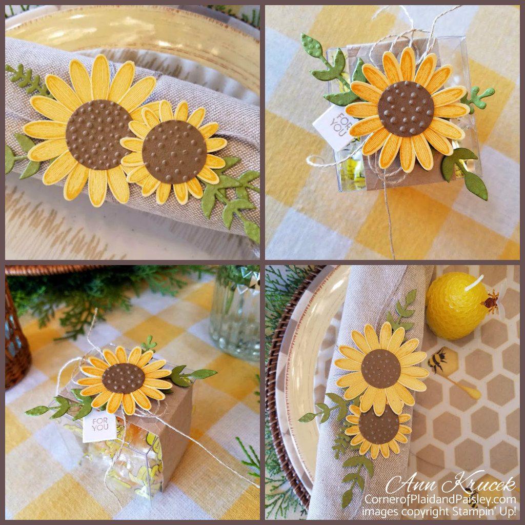Sunflower Blooms And Bees Corner Of Plaid And Paisley
