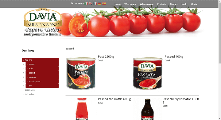 Picture to Italian food exporter company named Davia Srl