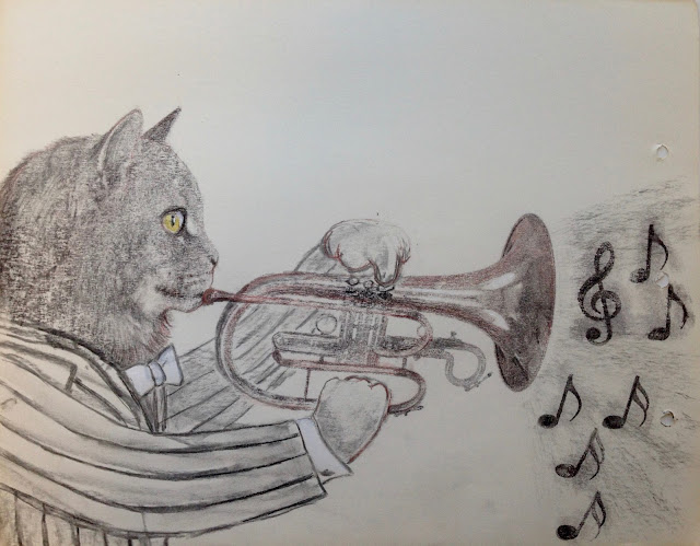 jazz music catart illustration drawing print horn music tomcat male cat notes