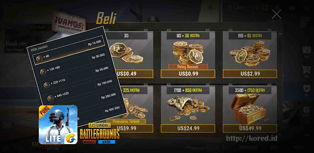 Cara Top Up/ Membeli BC (Battle Coin) Pubg Mobile Lite