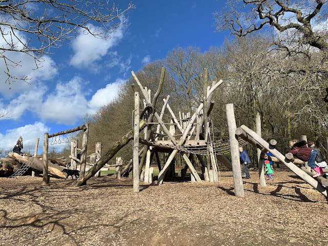 The older children's wooden play area at the Stickman Trail Weald Park Essex