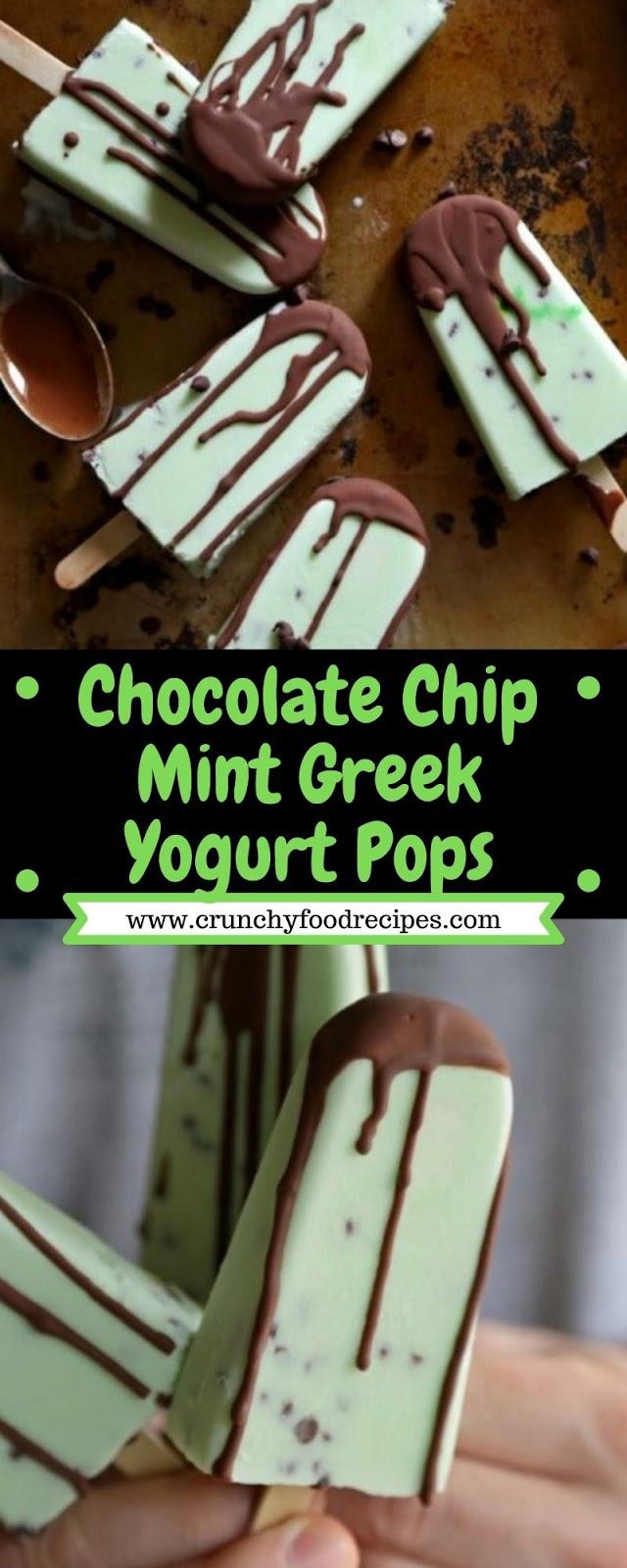 Chocolate Chip Mint Greek Yogurt Pops