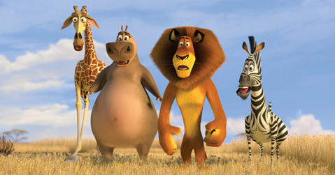 Marty, Alex, Gloria and Melman looking out over Afriac in Madagascar 2: Escape 2 Africa //animatedfilmreviews.filminspector.com/2012/12/madagascar-escape-2-africa-2008-full-of.html