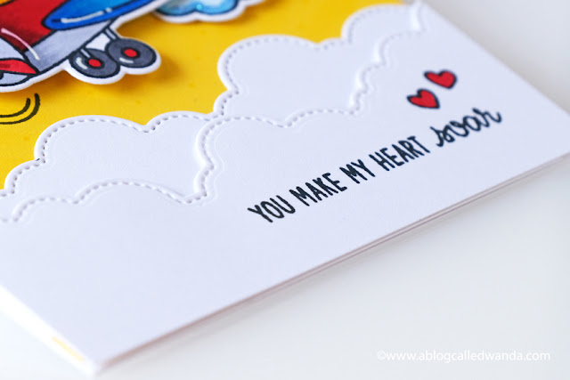 Sunny Studio Stamps: Plane Awesome Fluffy Clouds Border Dies Card by Wanda Guess
