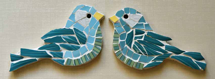 Mosaic bird pair by Jeanne Selep