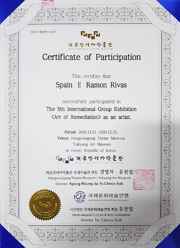 "Certificado de participación de Ramón Rivas 5ª Exposición Internacional colectiva ""Arte de la Remediación"""