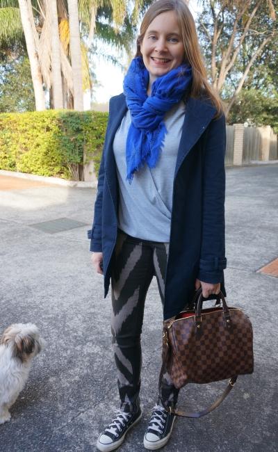 sass & bide printed jeans, converse, grey wrap tee blue mac and scarf | AwayFromBlue